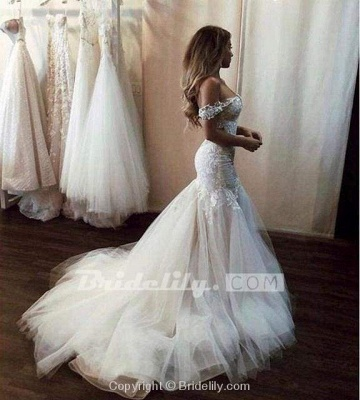 Chicloth Off the Shoulder Mermaid Lace Long Tulle Wedding Dress_4