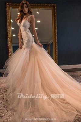 Chicloth Gorgeous Mermaid Sweetheart Sleeveless Watteau Train Tulle Wedding Dress_2