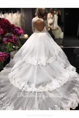 Chicloth Ivory Deep V-Neck Long Sleeves Lace Appliques Chapel Train Tiered Wedding Dress_3