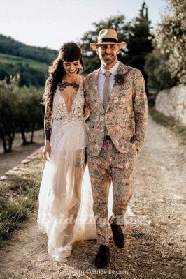 Chicloth Deep V Neck Thigh Split Beach Vintage Wedding Dress_6