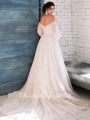 Chicloth Glamorous Off-the-Shoulder A-Line Ruffles Wedding Dresses_2