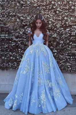 Chicloth Applique Brush Train Blue Ball Gown Prom Dresses_1