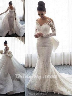 Chicloth Long Sleeves Lace Mermaid Wedding Dresses_5