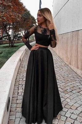 Chicloth Two Piece Prom Long Sleeves Floor Length Evening Dress with Lace_1