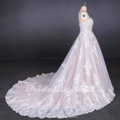 Chicloth Puffy Strapless Tulle with Appliques Long Train Lace Up Wedding Dress_5