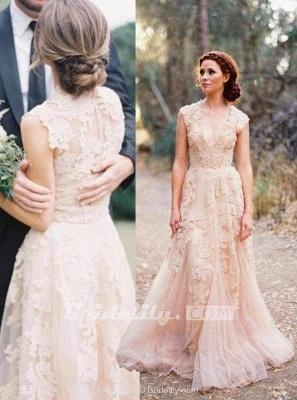 Chicloth Elegant V-neck Sleeveless Cap Sleeves Floor-Length Wedding Dress_3