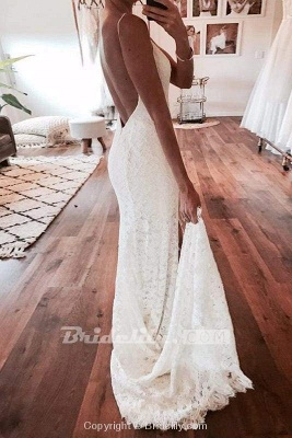 Chicloth Sexy Mermaid Spaghetti Straps Backless Beach Lace Wedding Dress_3