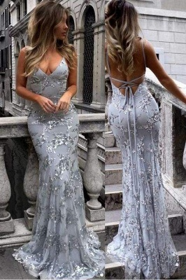 Chicloth Spaghetti Straps V-neck Mermaid Sparkly Tulle Evening Dress Long Prom Gowns_1