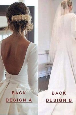 Chicloth New Elegant Satin V Neck Long Sleeve Wedding Dress_3