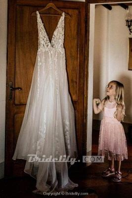 Chicloth Deep V Neck Thigh Split Beach Vintage Wedding Dress_5