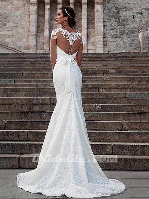 Chicloth Glamorous Long Sleeves Lace Bowknot Mermaid Wedding Dresses_2