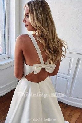 Chicloth Charming V-neck Bow Back A-Line Wedding Dress_2