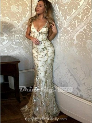 Chicloth Spaghetti Straps V-neck Mermaid Sparkly Tulle Evening Dress Long Prom Gowns_4