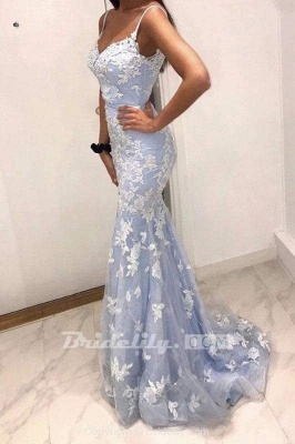 Chicloth Sexy Spaghetti Straps Mermaid Prom Dress with Lace Appliques_2