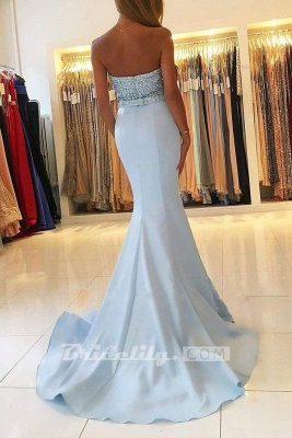 Chicloth Sexy Light Blue Beading Strapless Long Prom Dresses Sparkle Mermaid Party Gown_2