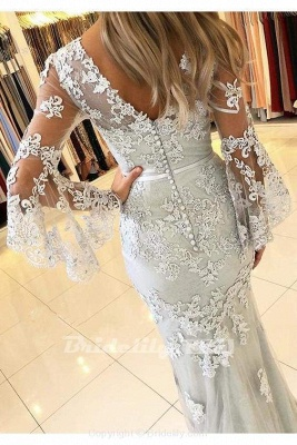 Chicloth White V Neck Long Prom Mermaid Lace Appliqued Evening Dress_2