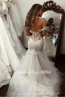 Chicloth Off the Shoulder Mermaid Lace Long Tulle Wedding Dress_2