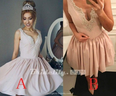 Chicloth A-Line V-Neck Ruched Short Pearl Pink Satin Homecoming with Beading Mini Prom Dress_2