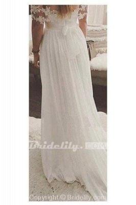 Chicloth Simple A-Line Appliques Ivory Chiffon Beach Wedding Dress_2