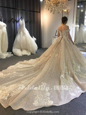 Chicloth Luxury Beading Off-the-Shoulder With Train Ball Gown Wedding Dresses_2