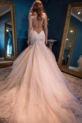 Chicloth Gorgeous Mermaid Sweetheart Sleeveless Watteau Train Tulle Wedding Dress_1