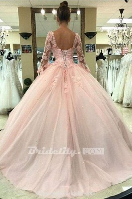 Chicloth Puffy Sleeve Prom Dress with Lace Pink Tulle Long Quinceanera Dresses_2
