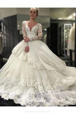 Chicloth Ivory Deep V-Neck Long Sleeves Lace Appliques Chapel Train Tiered Wedding Dress_2