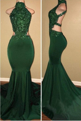 Chicloth Green High Neck Sleeveless Mermaid Long Prom with Appliques Sexy Party Dress_1