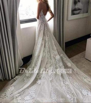 Chicloth Stunning Appliques Lace Spaghetti Straps Wedding Dress_4