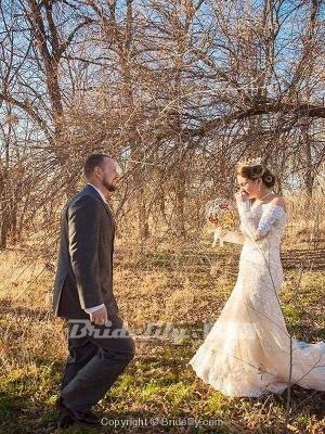 Chicloth Long Sleeves Detachable Train Appliques Mermaid Wedding Dresses_4