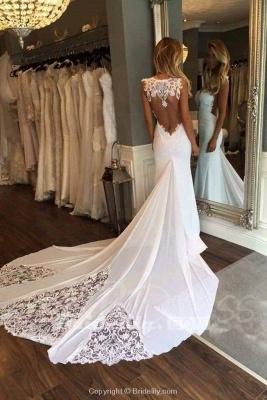 Chicloth Pretty Sheath Sleeveless Long Beach with Lace Wedding Dress_4