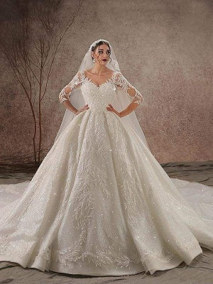 Chicloth Luxury Shinny Three Quarter Sleeve Lace Beading Ball Gown Wedding Dresses_1
