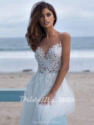 Chicloth Elegant Lace Covered Button Ball Gown Wedding Dresses_4