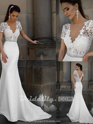 Chicloth Gorgeous V-neck Short Sleeves Lace Mermaid Wedding Dresses_4