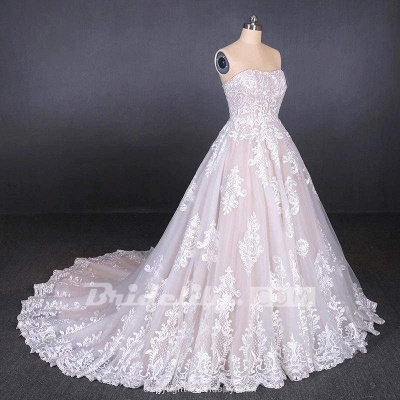 Chicloth Puffy Strapless Tulle with Appliques Long Train Lace Up Wedding Dress_4