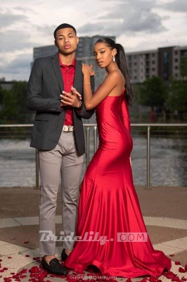 Chicloth Red Asymmetrical Floor Length Prom Dresses_2