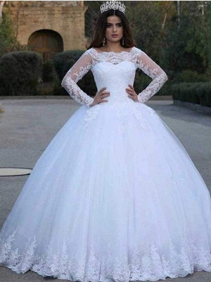 Chicloth Long Sleeves Lace Appliques Wedding Dresses_1