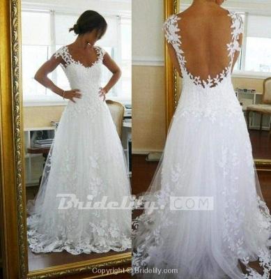 Chicloth A-Line Lace White Straps Pretty Sleeveless Wedding Dress_2