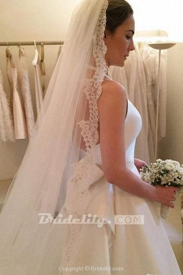 Chicloth A Line Halter Satin Simple Backless Sleeveless Wedding Dress with Bow_4