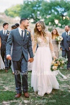 Chicloth Chic A-line Long Sleeve Lace Backless Country Wedding Dress_2