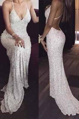 Chicloth White Deep V neck Spaghetti Straps Sequin Mermaid Long Prom Dresses Sexy Evening Dress_1