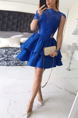 Chicloth Tiered Long Sleeves Royal Blue Satin Homecoming with Appliques Mini Prom Dress_1