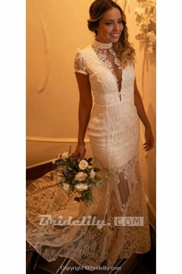 Chicloth Vintage High Neck Lace Short Sleeve Wedding Dress_2