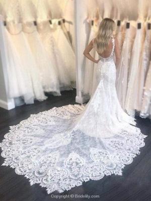 Chicloth Gorgeous Straps Mermaid Train Lace Wedding Dress_2