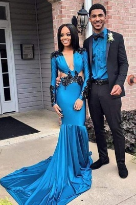 Chicloth Elegant Long Sleeves Deep V Neck Mermaid Prom Dresses with Blace lace Appliques_1