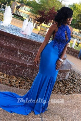 Chicloth Royal Blue Halter Backless Long Mermaid Prom Dresses with Train_2