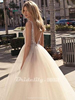 Chicloth Graceful High Split V-neck Sequins Tulle Wedding Dresses_3
