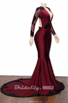 Chicloth Deep V-neck Long Sleeve Beaded Mermaid Prom Dresses_2