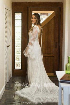 Chicloth Boho V Neck Beach with Long Sleeves Unique Lace Wedding Dress_2