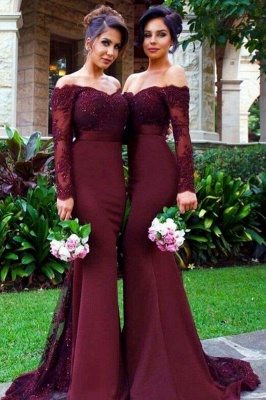 Chicloth Mermaid Off-the-Shoulder Long Sleeves Bridesmaid\/Prom Dress with Lace Appliques_1